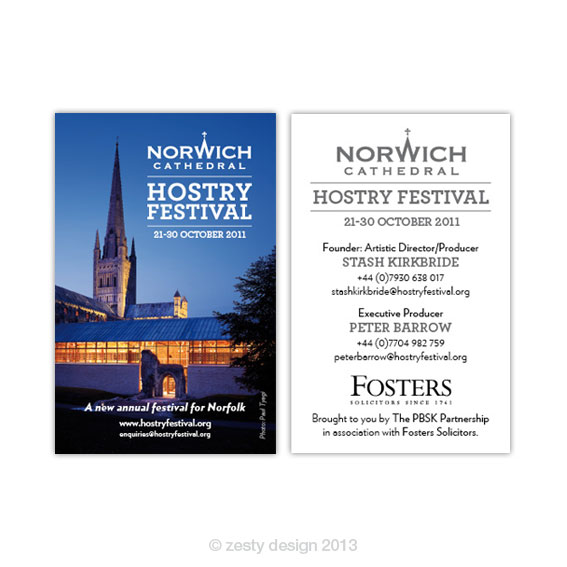 Hostry Festival business card design