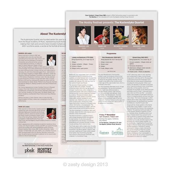 Kustendyke Quartet leaflet design